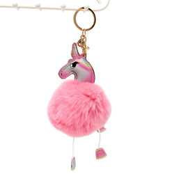 Unicorn with Soft Pom Pom Purse Charm Keychain Pink