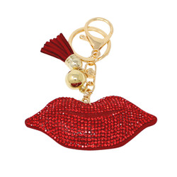 Red Lip Key Chain with Soft Padded Felt Backing