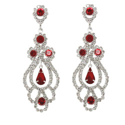 Cubic Zirconia Chandelier Earrings 2.5 Inches Red