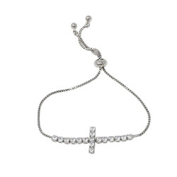 Cubic Zirconia Cross Adjustable Slider Bracelet Silver