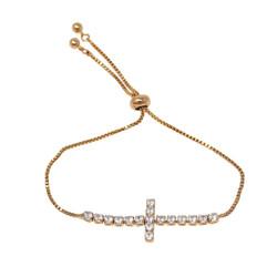 Cubic Zirconia Cross Adjustable Slider Bracelet Gold