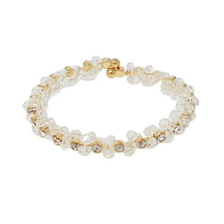 Adjustable Wreath Crystal Cuff Bracelet AB Gold