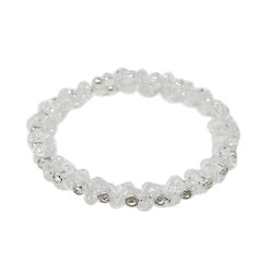 Adjustable Wreath Crystal Cuff Bracelet Silver