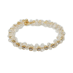 Adjustable Wreath Crystal Cuff Bracelet Clear Gold