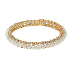 Adjustable Faux Pearl Crystal Cuff Bracelet Gold