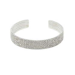 Adjustable 5 Row Rhinestone Cuff Bracelet Silver