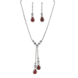Rhinestone Double Drop Y-shape Necklace Earrings Set Red Silver Tone