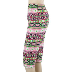 Tequila and Lime Tribal Patterned High Waistband Capri Leggings