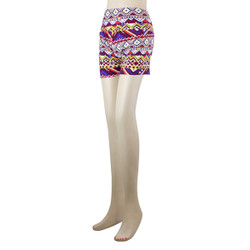 Sunrise Over The Desert Peaks Tribal Patterned High Waistband Short Leggings