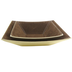 Modern Jewelry Tray Set of 2 Leather Simulated