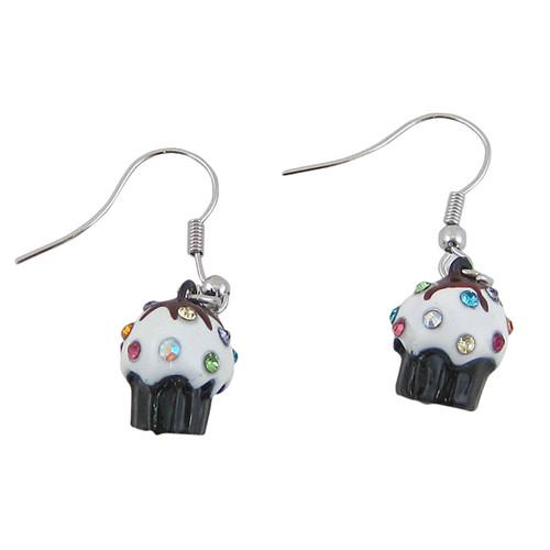 Cupcake Hook Earrings Brown Bejeweled