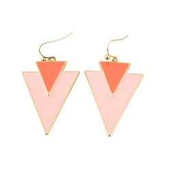 Geometric Panel Earrings Two Tone Pink
