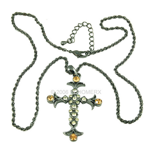 Victorian Amber Green Cross Pendant
