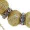 Multi-Chain Mesh Bead Long Necklace Layered Gold