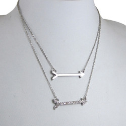 Double Arrow Necklace Silver