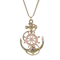 Ship Wheel and Anchor Necklace Pink