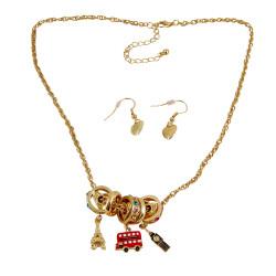 Charm Necklace Earrings European Theme Gold Tone