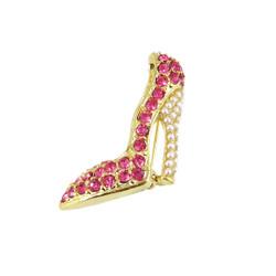 Rhinestone and Pearls High Heel Brooch Pink