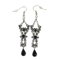 Elegant Black Dangle Earrings Crystals