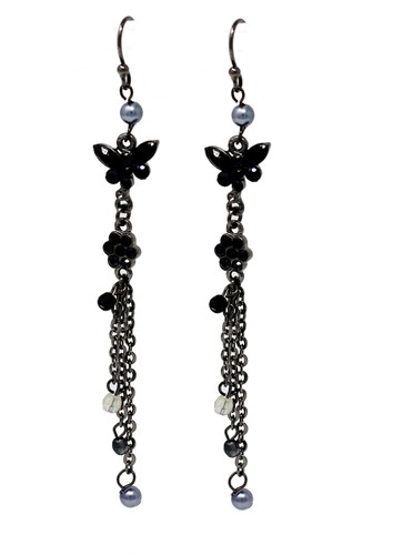 Black Butterfly Dangle Long Earrings