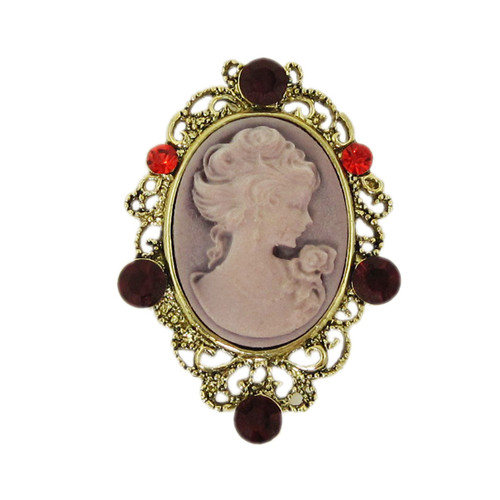 Victorian Oval Cameo Purple Pin Pendant Bejeweled