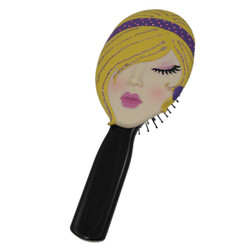Hairbrush Comb Blonde's Face Jeweled Purple Band