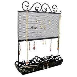 Metal Screen and Tray Jewelry Holder Black (JUST RESTOCKED)