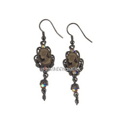 Victorian Cameo Earrings Leaf Brown