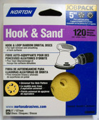 "5"" Hook & Loop 5 or 8 Hole 120 Grit 25 pack Norton - Velcro"