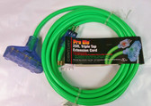 25' Heavy Duty Extension Cord - Outdoor/Indoor with Lighted Tri-Tap Green CGM