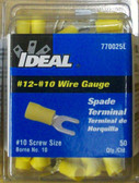 #12 - #10 Spade Terminal Yellow Ideal 770025L - Lot of 50