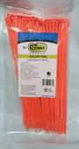"8"" Fluorescent Orange Nylon Cable Zip Ties 40LB. USA MADE, 100pk co"