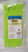 "8"" Fluorescent Green Nylon Cable Zip Ties 40LB. USA MADE, 100pk co"