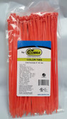 "8"" Orange Nylon Cable Zip Ties 40LB. USA MADE, 100pk"