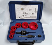 Electrician's RED Hole Saw Kit 9 pc Bi-Metal & Case