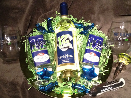 Seattle Seahawks wine platter (red)