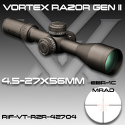 Vortex Optics RIF-VT-RZR-42704: Razor HD GEN2 4.5-27x56  EBR-1C Mil/Mill