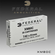 Federal XM80C: 7.62X51 149GR FMJ 20/Box
