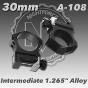 "Nightforce A108: 1.265"" Intermediate 30mm Ultralite Rings"