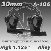 "Nightforce A106: Rem 700 SA 1.125"" High 20 MOA 30mm Direct Mount"