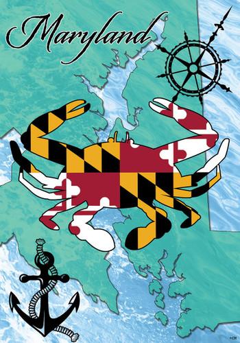Maryand Crab Mini Garden Flag   2349FM   Custom Decor    Christophersgiftshop.com