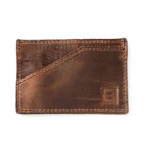 Leather Card Sleeve in Brandy