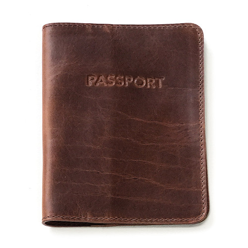 Passport sleeve interior in Brandy