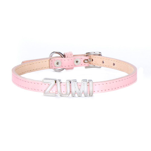 PERSONALIZED LEATHER DOG COLLAR - SMALL, PINK