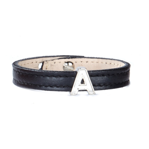 PERSONALIZED LEATHER CUFF IN BLACK