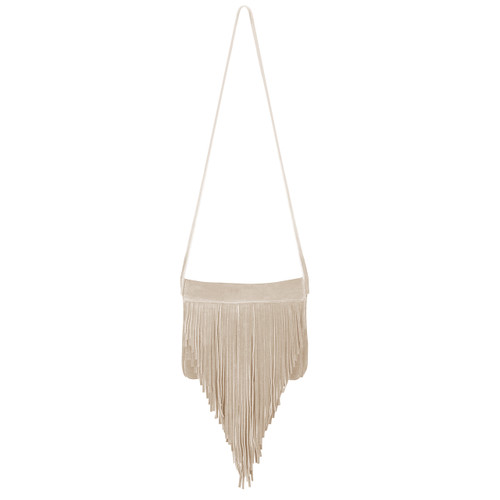Jurgen Suede Fringe Bag in Sand