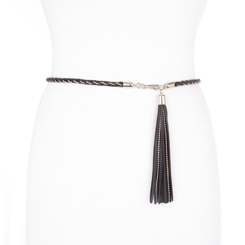 Bellatrix braided leather belt with tassel in black