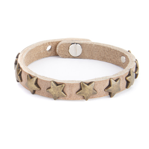 Clara Star Leather Cuff in Taupe