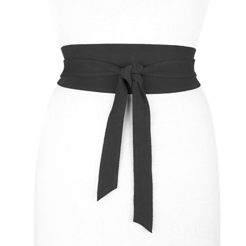 Nida Suede Leather Wrap Belt in Black