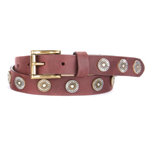 Bellsie Leather Belt in Wine Newport
